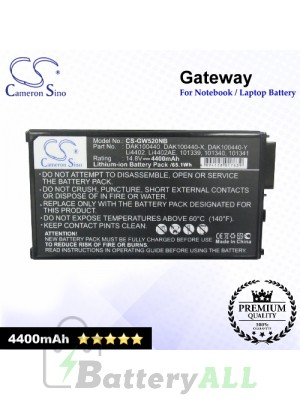 CS-GW520NB For Gateway Laptop Battery Model 101069 / 101339 / 101340 / 101341 / 101343 / 102738 / 102739