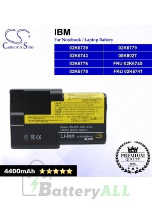 CS-IBA22E For IBM Laptop Battery Model 02K6739 / 02K6743 / 02K6776 / 02K6778 / 02K6779 / 08K8027 / FRU 02K6740