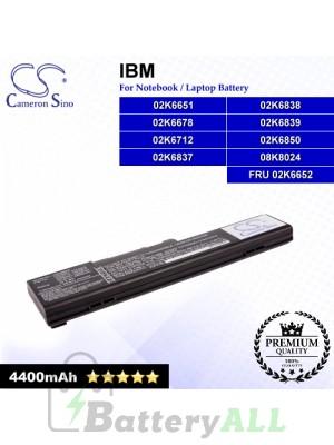 CS-IBX22 For IBM Laptop Battery Model 02K6651 / 02K6678 / 02K6712 / 02K6837 / 02K6838 / 02K6839 / 02K6850