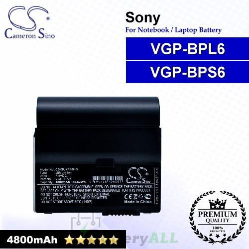 CS-SUX180HB For Sony Laptop Battery Model VGP-BPL6 / VGP-BPS6