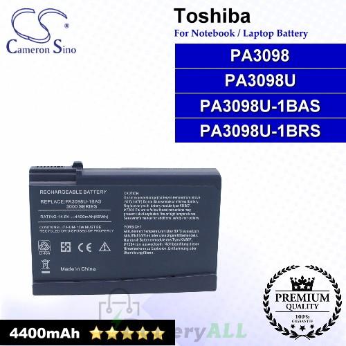 CS-TO3000 For Toshiba Laptop Battery Model PA3098 / PA3098U / PA3098U-1BAS / PA3098U-1BRS