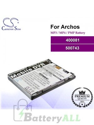 CS-AV530SL For Archos Mp3 Mp4 PMP Battery Model 400081 / 500743