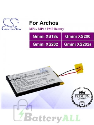 CS-XS200SL For Archos Mp3 Mp4 PMP Battery Fit Model Gmini XS18s / Gmini XS200 / Gmini XS202 / Gmini XS202s