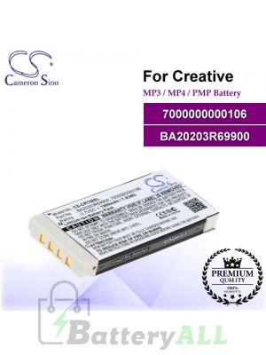CS-CRT06SL For Creative Mp3 Mp4 PMP Battery Model 7000000000106 / BA20203R69900