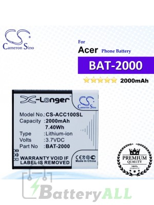 CS-ACC100SL For Acer Phone Battery Model BAT-2000