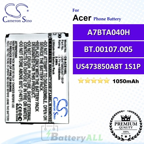 CS-ACE10SL For Acer Phone Battery Model US473850A8T 1S1P / A7BTA040H / BT.00107.005