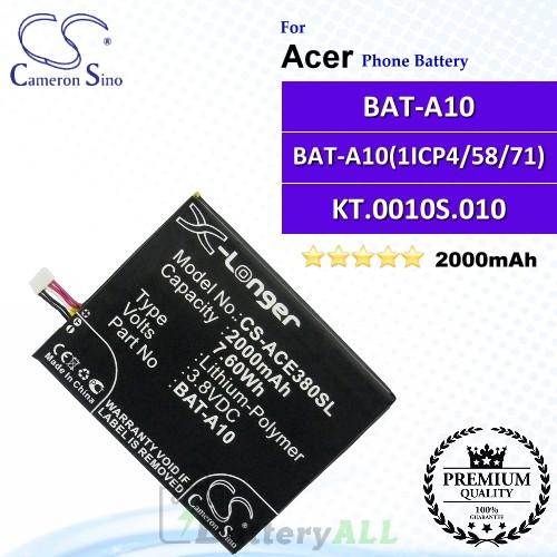 CS-ACE380SL For Acer Phone Battery Model BAT-A10 / BAT-A10(1ICP4/58/71) / KT.0010S.010