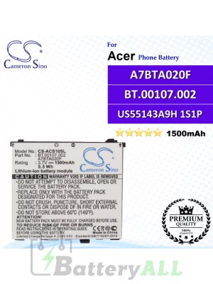 CS-ACS10SL For Acer Phone Battery Model US55143A9H 1S1P / A7BTA020F / BT.00107.002