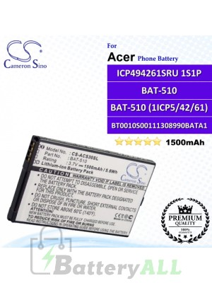 CS-ACS30SL For Acer Phone Battery Model BAT-510 / BAT-510 (1ICP5/42/61) / BT0010S001 / BT0010S00111308990BATA1 / ICP494261SRU 1S1P