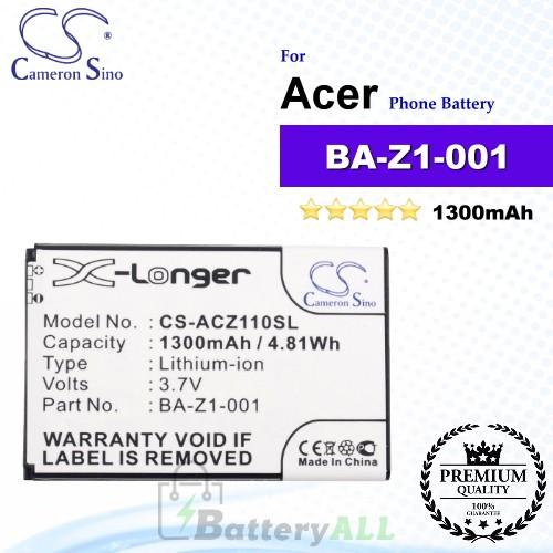 CS-ACZ110SL For Acer Phone Battery Model BA-Z1-001 / BA-Z1-003
