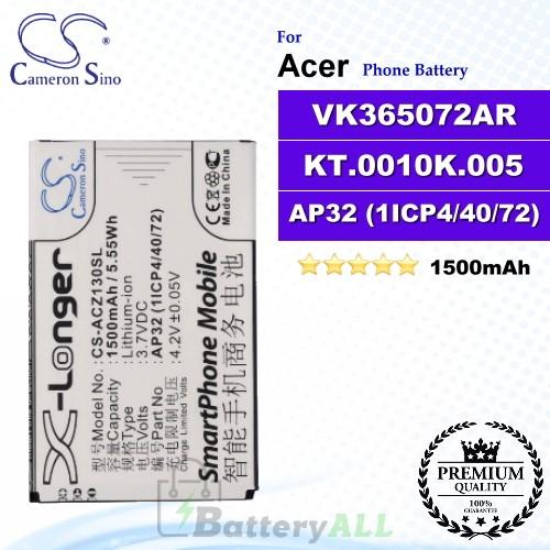CS-ACZ130SL For Acer Phone Battery Model VK365072AR / AP32 (1ICP4/40/72) / KT.0010K.005