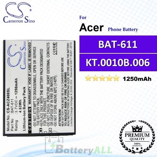 CS-ACZ400SL For Acer Phone Battery Model BAT-611 / KT.0010B.006