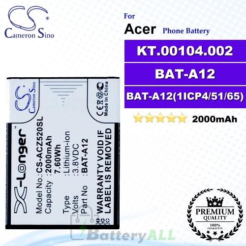 CS-ACZ520SL For Acer Phone Battery Model BAT-A12 / BAT-A12(1ICP4/51/65) / KT.00104.002