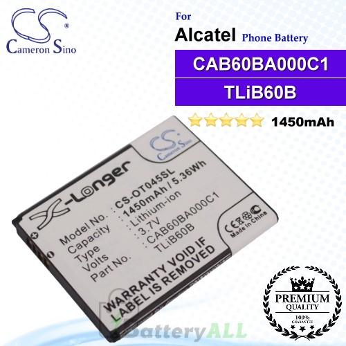 CS-OT045SL For Alcatel Phone Battery Model CAB60B0001C1 / CAB60B000C1 / CAB60BA000C1 / TLiB60B