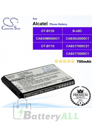 CS-OT383SL For Alcatel Phone Battery Model B-U8C / CAB2170000C1 / CAB2170000C2 / CAB217000C21 / CAB30M0000C1 / CAB30U0000C1 / OT-BY10 / OT-BY20