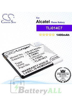 CS-OT402SL For Alcatel Phone Battery Model TLi014C7