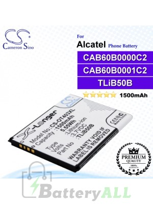 CS-OT403XL For Alcatel Phone Battery Model CAB60B0000C2 / CAB60B0001C2 / TLiB50B