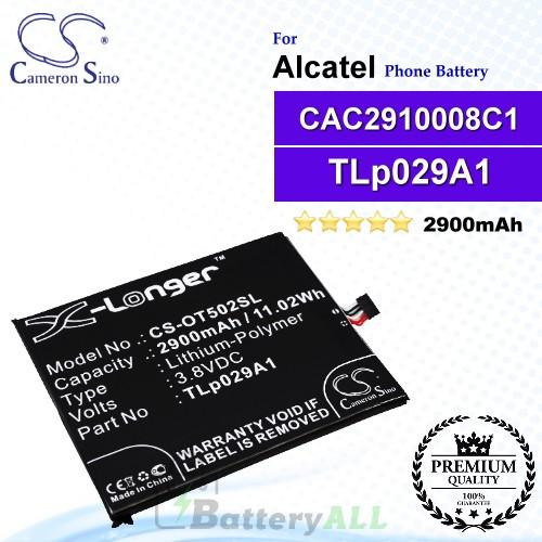 CS-OT502SL For Alcatel Phone Battery Model TLp029A1 / CAC2910008C1