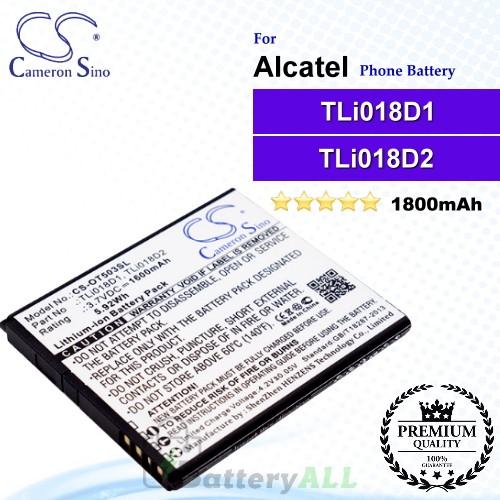 CS-OT503SL For Alcatel Phone Battery Model TLi018D1 / TLi018D2
