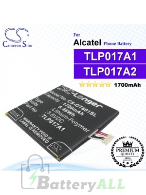 CS-OT601SL For Alcatel Phone Battery Model TLP017A2 / TLP017A1