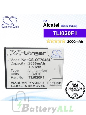 CS-OT704SL For Alcatel Phone Battery Model TLi018B2 / TLi019B1 / TLi019B2 / TLi020F1 / TLi020F2 / TLi020G1