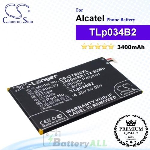 CS-OT802XL For Alcatel Phone Battery Model TLp034B1 / TLp034B2