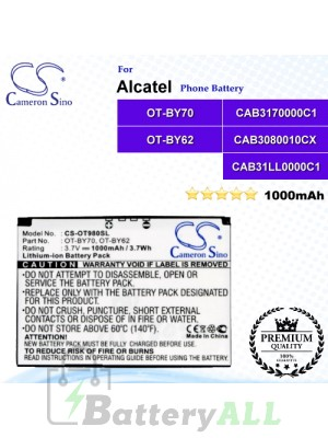 CS-OT980SL For Alcatel Phone Battery Model CAB3170000C1 / CAB31LL0000C1 / OT-BY70