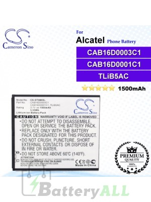 CS-OT986SL For Alcatel Phone Battery Model CAB16D0001C1 / CAB16D0002C1 / CAB16D0003C1 / TLiB5AC