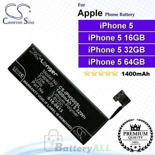 CS-IPH500SL For Apple Phone Battery Model 616-0610 / 616-0611 / 616-0612 / 616-0613 / AAP353292PA / LIS1491APPCS / P11GM8-01-S01 For iPhone 5