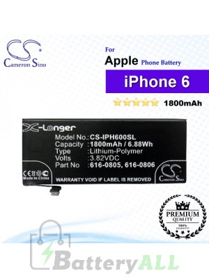 CS-IPH600SL For Apple Phone Battery Model 616-0804 / 616-0805 / 616-0806 / 616-0809 For iPhone 6