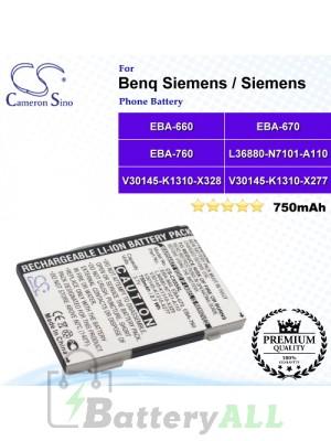 CS-CX65SL For Benq Siemens / Siemens Phone Battery Model EBA-660 / EBA-670 / EBA-760 / EBA-770 / L36880-N2501-A110 / L36880-N6051-A103 / L36880-N7101-A110 / L36880-N7101-A111 / V30145-K1310-X277 / V30145-K1310-X289 / V30145-K1310-X321 / V30145-K1310-X328