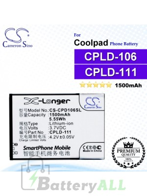 CS-CPD106SL For Coolpad Phone Battery Model CPLD-111 / CPLD-106