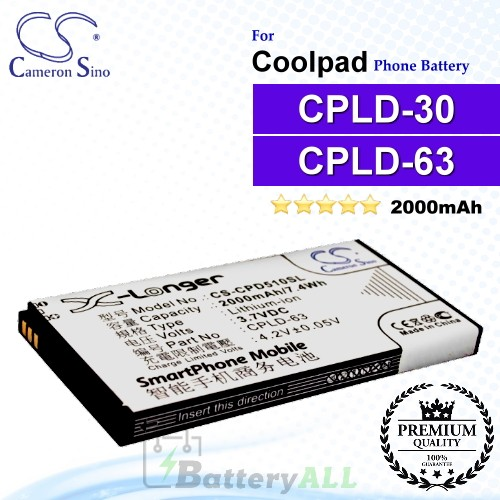 CS-CPD510SL For Coolpad Phone Battery Model CPLD-30 / CPLD-63