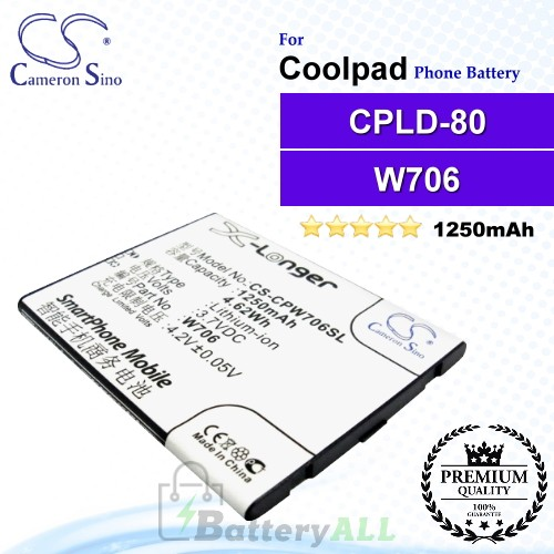 CS-CPW706SL For Coolpad Phone Battery Model CPLD-80 / W706