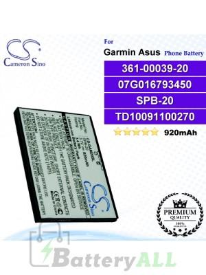 CS-GAM20SL For Garmin-Asus Phone Battery Model 361-00039-20_07G016793450 / SPB-20 / TD10091100270 / TD10093000627 / TDTD10093000695