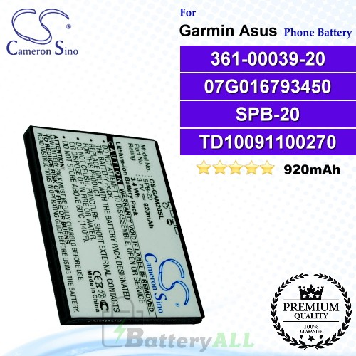 CS-GAM20SL For Garmin-Asus Phone Battery Model 361-00039-20_07G016793450 / SPB-20 / TD10091100270 / TD10093000627 / TDTD10093000695