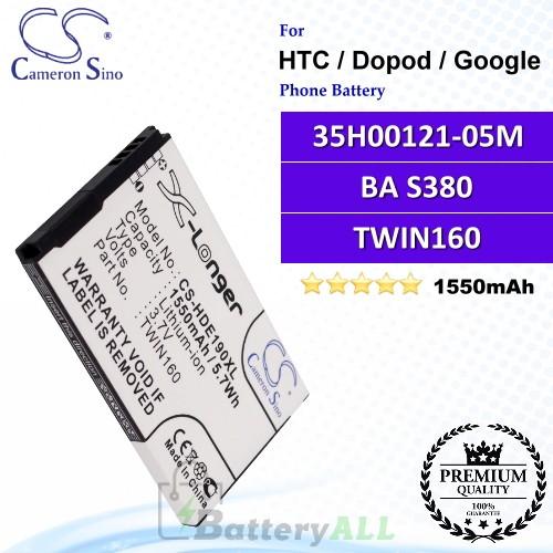CS-HDE190XL For HTC / Dopod / Google Phone Battery Model 35H00121-05M / BA S380 / TWIN160