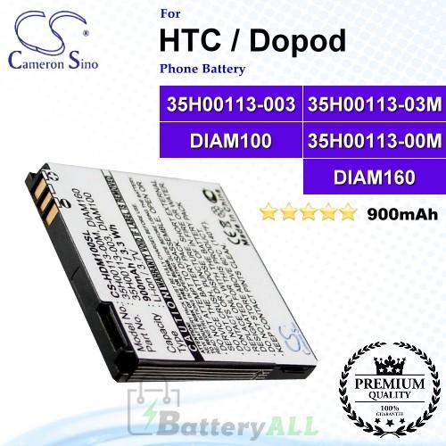 CS-HDM100SL For HTC / Dopod Phone Battery Model 35H00113-003 / 35H00113-03M / DIAM100 / DIAM160