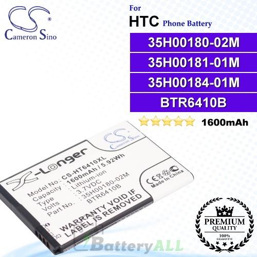 CS-HT6410XL For HTC Phone Battery Model 35H00180-02M / 35H00181-01M / 35H00184-01M / BTR6410B