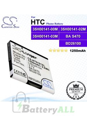 CS-HT9191XL For HTC Phone Battery Model 35H00141-00M / 35H00141-02M / 35H00141-03M / BA S470 / BD26100