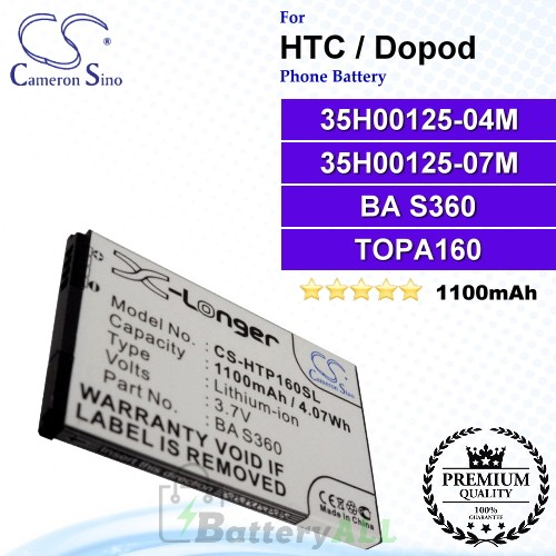 CS-HTP160SL For HTC / Dopod Phone Battery Model 35H00125-04M / 35H00125-07M / BA S360 / TOPA160