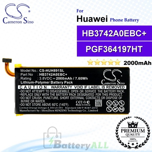 CS-HUH891SL For Huawei Phone Battery Model HB3742A0EBC+ / PGF364197HT