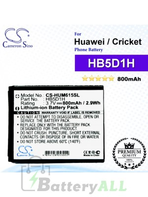 CS-HUM615SL For Huawei Phone Battery Model HB5D1H