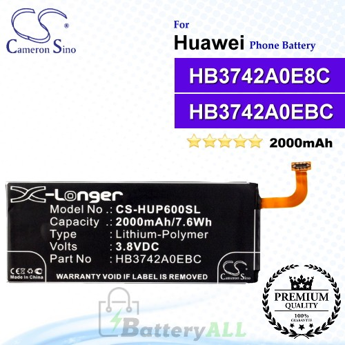 CS-HUP600SL For Huawei Phone Battery Model HB3472A0EBC / HB3742A0E8C / HB3742A0EBC / HB3742A0EBW