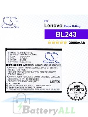 CS-BLK500SL For Lenovo Phone Battery Model BL243