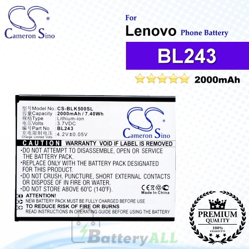 CS-BLK500SL For Lenovo Phone Battery Model BL243