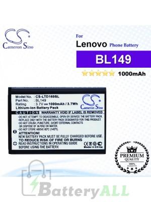 CS-LTD160SL For Lenovo Phone Battery Model BL149