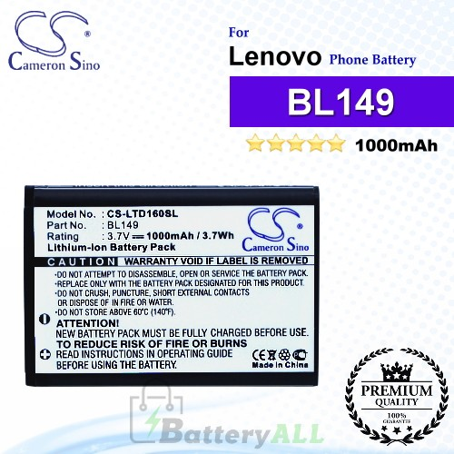 CS-LTD160SL For Lenovo Phone Battery Model BL149