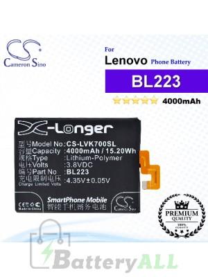CS-LVK700SL For Lenovo Phone Battery Model BL223