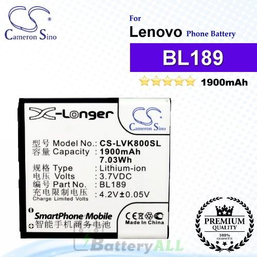 CS-LVK800SL For Lenovo Phone Battery Model BL189